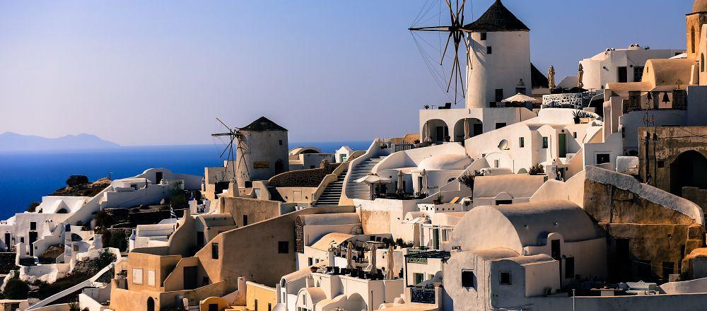希腊白色建筑风景图片